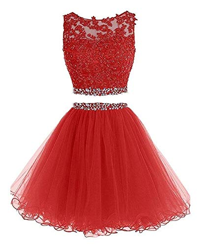 (HeleneBridal Women's Two Pieces Short Prom Gowns Beaded Homecoming Cocktail Dresses)