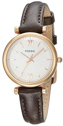 (Fossil Women's Stainless Steel Quartz Leather Strap, Brown, 10 Casual Watch (Model: ES4472))