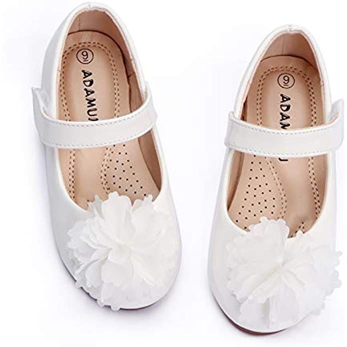 ADAMUMU Girls Dress Shoes Princess Mary Jane Shoes Slip on Casual Toddler Girl Ballet Flats with Bowknot Flower Elastic Band in Party Wedding Dress Up Costume