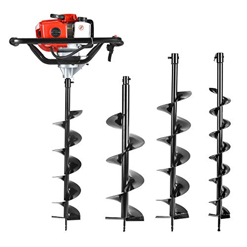 "Earth Auger Power Head Heavy Duty with 52cc, 2 Cycle, Powered-Digger-Extention-Stroke-Person-Powerhead Full Engine Post Hole Digger Auger Petrol Drill Bit Earth Borer +3 Bit 4"" 6"" 8"""