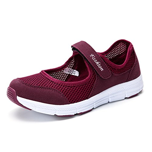 CHOKNESS Women's Casual Walking Sneakers - Lightweight Breathable Flat Shoes (8, Red) ()