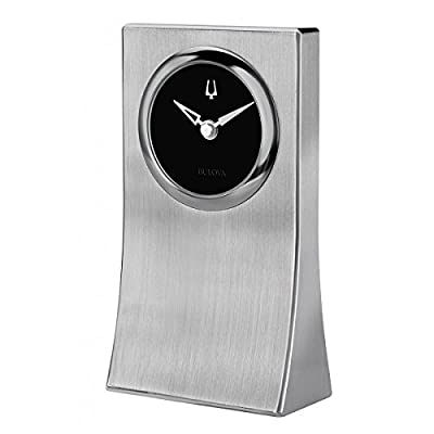 Bulova B5002 Oblisk Engravable Brushed Silver Tabletop Clock - Heavy Solid Brushed Aluminum Case Black Dial with Raised Iconic Tuning Fork Brushed Silver Hands - clocks, bedroom-decor, bedroom - 411 cRocCFL. SS400  -