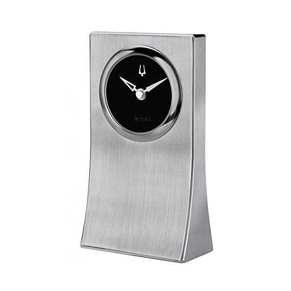 Bulova B5002 Oblisk Engravable Brushed Silver Tabletop Clock - Heavy Solid Brushed Aluminum Case Black Dial with Raised Iconic Tuning Fork Brushed Silver Hands - clocks, bedroom-decor, bedroom - 411 cRocCFL. SS570  -