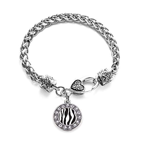 (Inspired Silver - Zebra Print Braided Bracelet for Women - Silver Circle Charm Bracelet with Cubic Zirconia Jewelry )