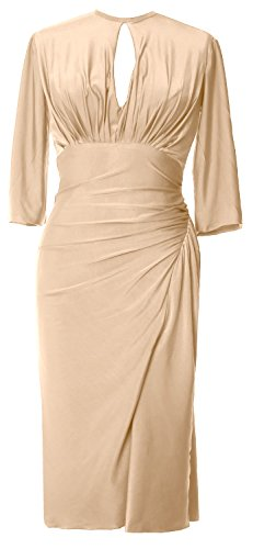 Half Cocktail Formal Gown Jersey MACloth Dress Champagner Knee Elegant Party Length Sleeve 6wTBO