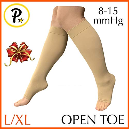 Presadee 8-15 mmHg Light Compression Leg Calf Circulation Fatigue Travel Daily Wear Extra Wide Knee High Traditional Socks Open Toe (Nude, L/XL)