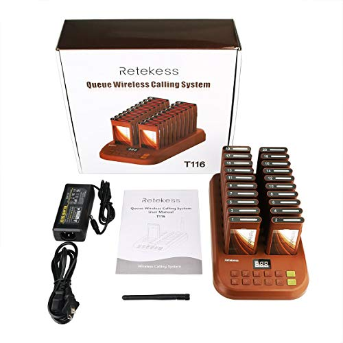 Retekess T-116 Wireless Calling System Restaurant Paging System Long Range Restaurant Number System with 20pcs Coaster Pagers for Restaurant Food Truck Clinic Church Cafe Shop by Retekess (Image #8)