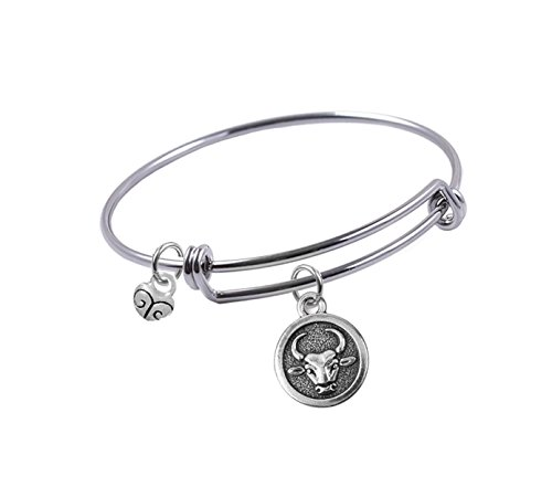 Expandable Bangle bracelet with Antique Silver-plated, Double Sided, Taurus Zodiac Sign and Small Heart charm, - Zodiac Plated Charm