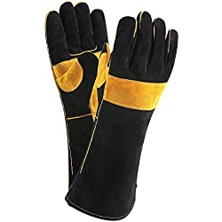 DEKO Welding Gloves Double Layered Heat Resistant Lined Leather with Velvet, Black - 16 Inch for Mig, Tig Welders, BBQ, Gardening, Camping, Stove, Fireplace
