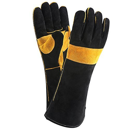 Glove Mig Welder Tig (DEKO Welding Gloves Double Layered Heat Resistant Lined Leather with Velvet, Black - 16 Inch for Mig, Tig Welders, BBQ, Gardening, Camping, Stove, Fireplace)