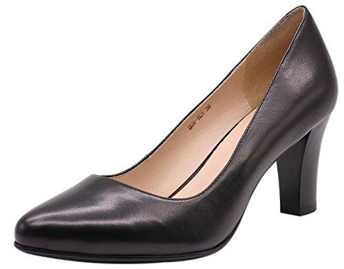 cheap sale wholesale price buy cheap visit new JARO VEGA Women's Soft Goatskin Genuine Leather Pumps Slender Block Heel Closed Almond Toe Dress Shoes Black HObfedEui