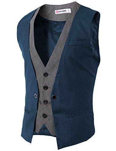 H2H Mens Formal Slim Fit Premium Business Dress Suit Button Down Vests