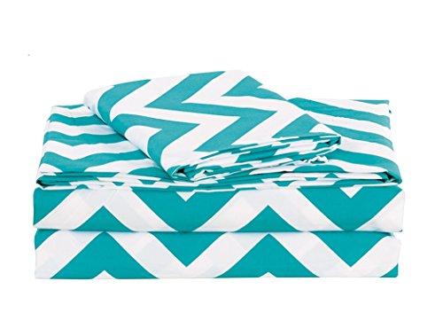 Chezmoi Collection 4-piece Chevron Zig Zag Patterns Sheet Set (Queen, Teal) (Chevron Sheets Blue)