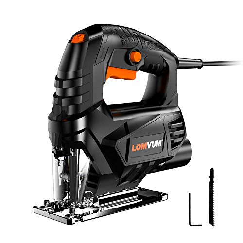 Lomvum Jig Saw, 4A Curve Saw Corded Variable Speed for Straight/Curve/Bevel/Circular Cutting,3300 SPM Pure Copper Motor jigsaw saw for woodworking Included T Blade/Hex Key/Dust Cover