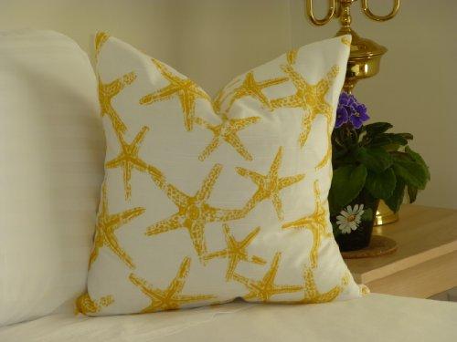Yellow-Starfish-Pillow-Cover-18x18