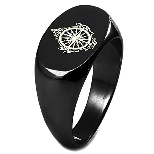 Engraved Silver Plated Oval Antique - Black IP Plated Sterling Silver Nautical Antique Royal Compass Engraved Oval Flat Top Polished Ring, Size 6