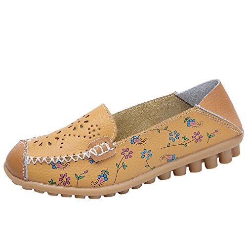 Oliviavan Women Outdoor Shoes Casual Soft Bottom Flat Lightweight Peas Boat Shoes