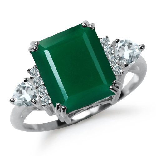5.03ct. Natural Emerald Green Agate & White Topaz 925 Sterling Silver Cocktail Ring Size 8