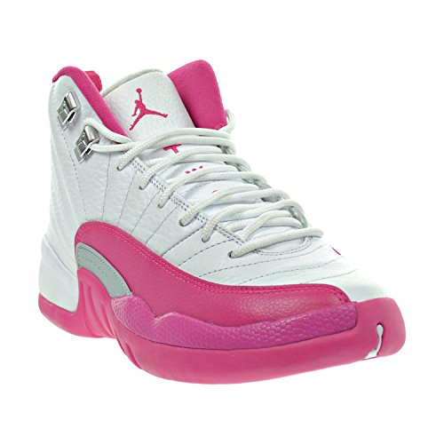 Nike Women's Air Jordan 12 Retro Gg Basketball Shoes White, Vivid Pink-mtllc Silver