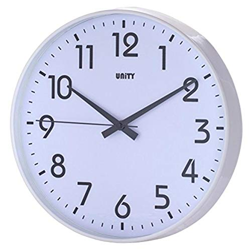 Unity Fradley Silent Sweep Non-Ticking Modern Wall Clock, 12-Inch, White