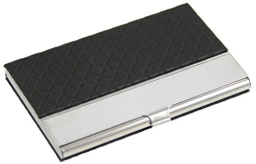 Executive Business Card Case with Black Leatherette Diamond Design