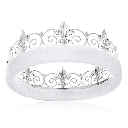 DcZeRong Adult Men Crowns Birthday Costume Prom King Crown Silver Rhinestone Crown Full Tiara Crown (Prom Crowns Men)