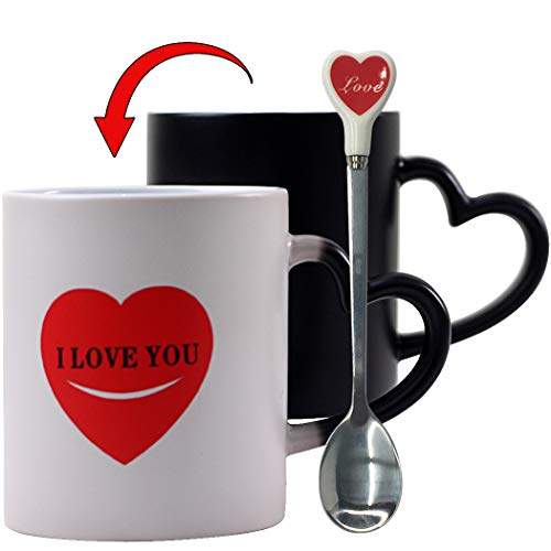 Funny Mom Mug Color Changing Mugs Heat-Sensitive Mug Heat Changing Mug Spoons Set - YUWU Novelty Heart I Love You Morning Mugs Lovers Gift Magic Coffee Mugs Crazy Cat Lover Gift For Men Women Mom Dad