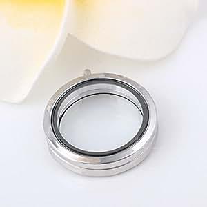 Botrong® Colgante redondo flotante de memoria Locket Collar Colgantes de cristal Fase Box SL