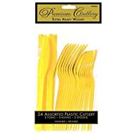 Premium Heavy Weight Assorted Cutlery | Sunshine Yellow | Pack of 24 | Party Supply