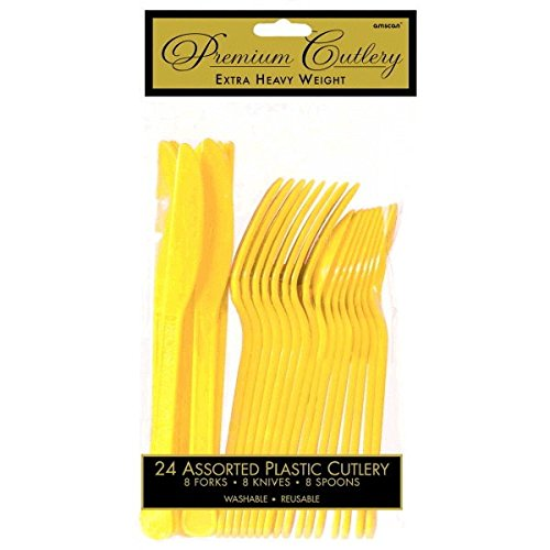 (Premium Heavy Weight Assorted Cutlery | Sunshine Yellow | Pack of 24 | Party Supply)