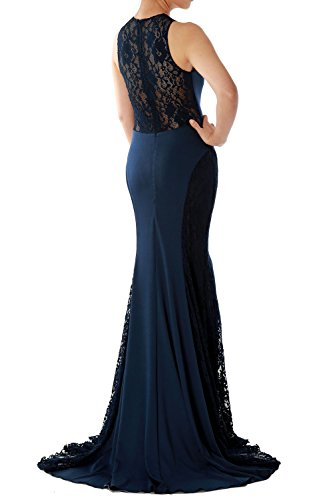 MACloth Women's Mermaid O Neck Long Lace Jersey Evening Formal Gown Prom Dress Gris