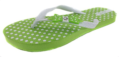 Making Waves Womens Polka Dot Bow Flip Flops (5/6, Green)