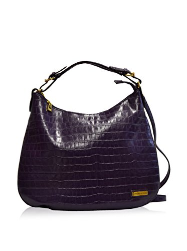 Adrienne Vittadini Croco Collection Hobo 17 X 12 X 5 3/4 Purple Adrienne Vittadini Collection