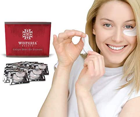 Wisteria Beaute Luxury Hydrogel Collagen Anti-Aging Under Eye Patches/Under Eye Mask for Puffy Eyes (Pack of 15)