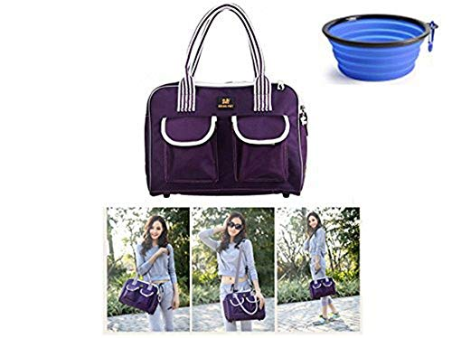 Hubulk Dog Carrier Bag Pet Tote Bag Doggie Handbag Cat Purse Puppy Pouch, Free Collapsible Dog Bowl Included (M Purple)