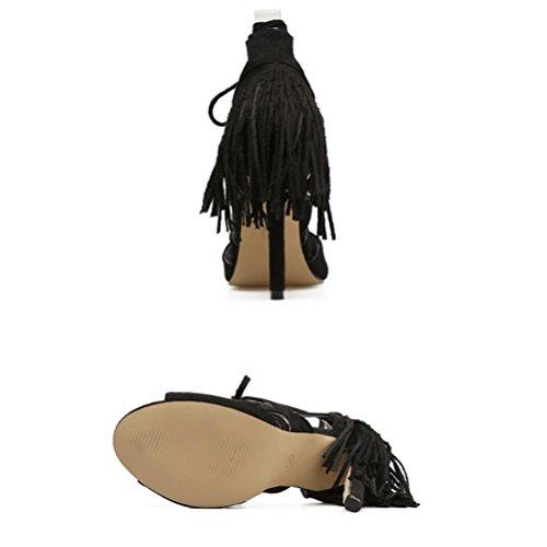 XIE Femmes Open Toe Sandales À Talons Hauts Gao Bang Creux Thin Ceinture Bouche De Poisson Fine Talon Zipper Arrière Roman Chaussures Travail et Bureau Partie white NdCEv