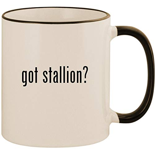 got stallion? - 11oz Ceramic Colored Handle & Rim Coffee Mug Cup, Black