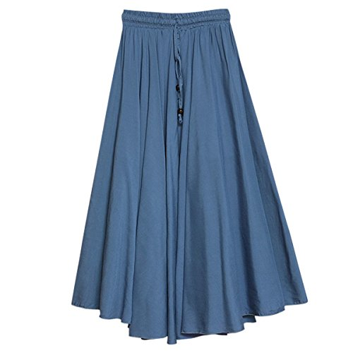Feoya - Jupe Femme Longue Casual Jupe Plisse Confortable pour Quotidien porter Danse Voyager lastique Taille unique (Longue 86cm) Bleu Clair