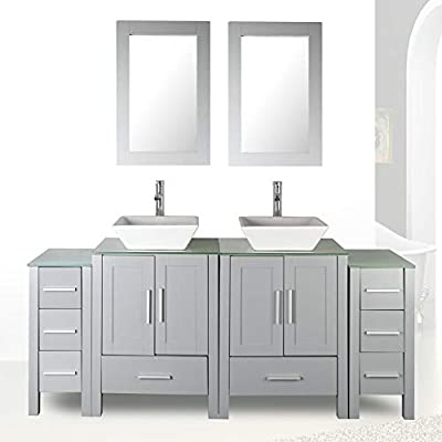 "72"" Double Sink Grey Bathroom Vanity Modern Design Glass Top w/Mirror Faucet&Drain"