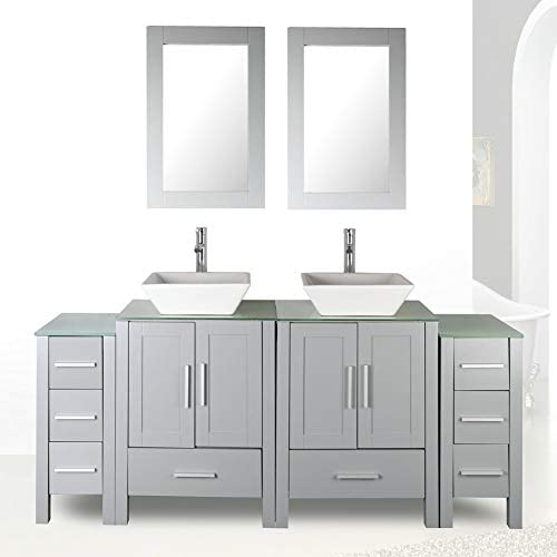Elizabeth 60-inch Single Sink Bathroom Vanity Carrara Charcoal Gray Includes Authentic Italian Carrara Marble Countertop, Charcoal Gray Cabinet with Soft Close Drawers, and White Ceramic Sink