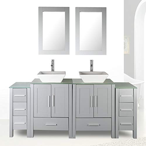 72 Double Sink Grey Bathroom Vanity Modern Design Glass Top w Mirror Faucet Drain