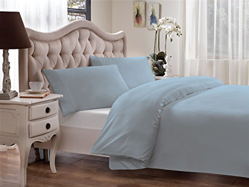 Brielle 630 Threadcount Egyptian Cotton Sateen Priemium 600 Plus Sham Set, Light Blue, King ()