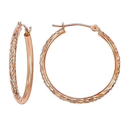 - 14k Gold X-pattern Diamond-cut Round Hoop Earrings, 1'' Diameter (rose-gold)