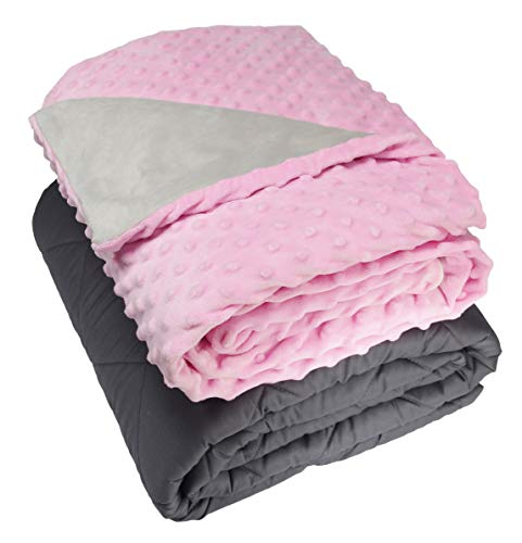 Cheap Bel Regalo Weighted Blanket for Kids-Heavy Blanket for Children Cotton Grey Blanket with Removable Super Soft Plush Minky Cover (Pink 5lb 36