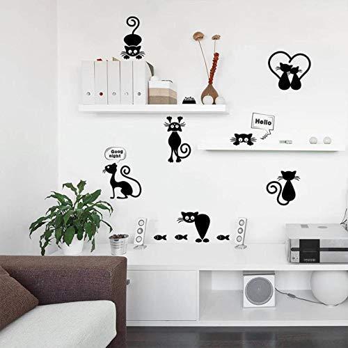 Black Fashion Wall Stickers Cat Switch Living Room Decor Tv Child Bedroom Vinyl Home L40 - Wall Decor]()