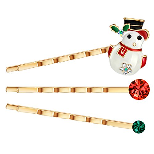 (Neoglory Jewelry Rose Gold Plated Rhinestone Snow Man with a Cap Christmas Bobby Pin 3-Pieces)