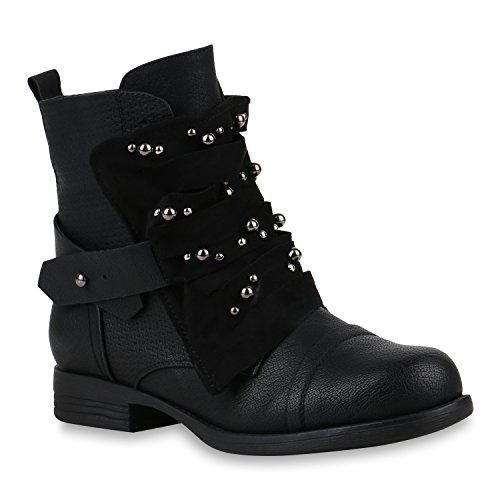 Stiefelparadies Damen Stiefeletten Biker Boots Nieten Cut Outs Leder-Optik Schuhe Flandell Schwarz Brito