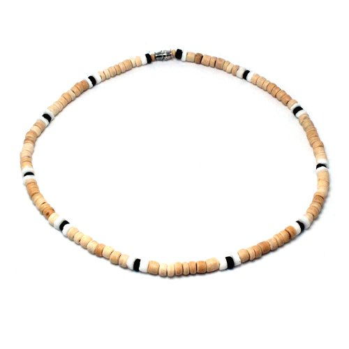 5mm Light Brown Coco Bead Hawaiian Surfer Necklace with White Puka Shell and Black Coco Bead Accents, Barrel Lock (22 IN)
