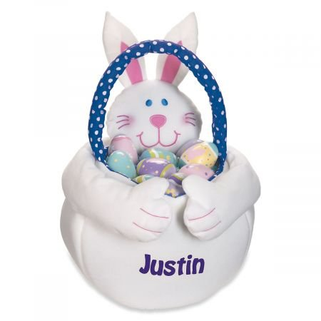 Personalized Plush Boy Easter Bunny Basket Tote - 14