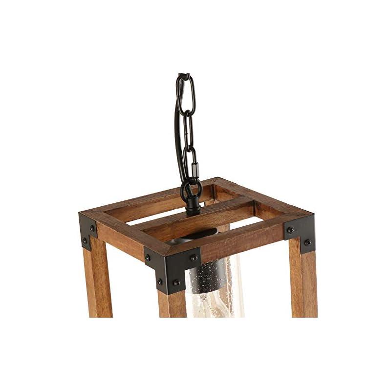 Giluta Square Wood Pendant Lighting, Adjustable Height Hanging 1-Light Fixture Kitchen Dining Room Chandelier Rustic…